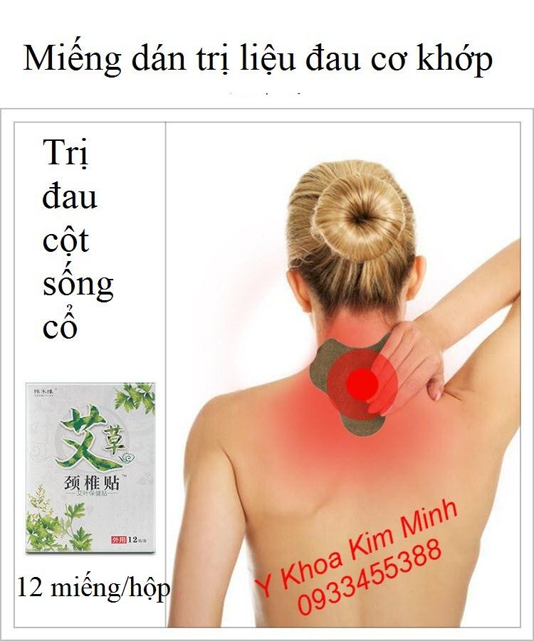Miếng dán trị đau cột sống cổ, đau cổ vai gáy, hộp 12 miếng - Y Khoa Kim Minh
