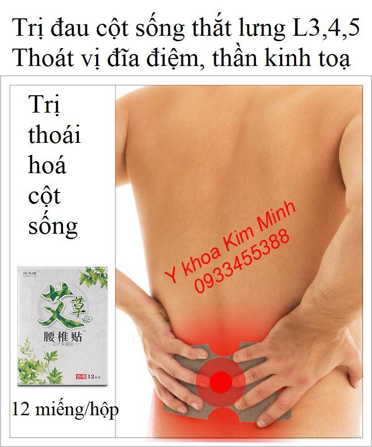 Miếng dán trị đau cột sống lưng, thần kinh toạ, thoái vị đĩa đệm L3, L4, L5 - Y khoa Kim Minh