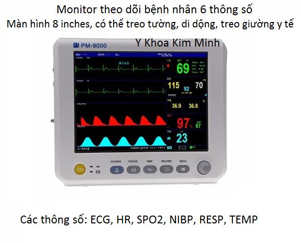 Monitor theo doi benh nhan 6 thong so treo tuong, giuong y te - Y khoa Kim Minh