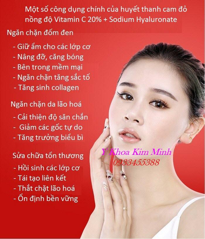 Một số công dụng chăm sóc da của huyết thanh vitamin C cam đỏ - Y Khoa Kim Minh