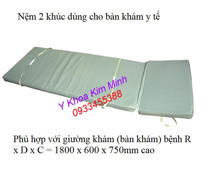 Nệm y tế 2 khúc thay thế cho giường khám bệnh inox - Y Khoa Kim Minh