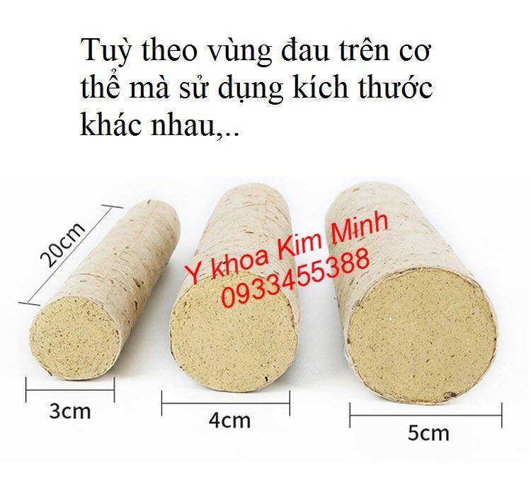 Kích thước của nhang ngải cứu giấy lá tơ tằm là 20x200, 30x200, 50x200mm - Y khoa Kim Minh