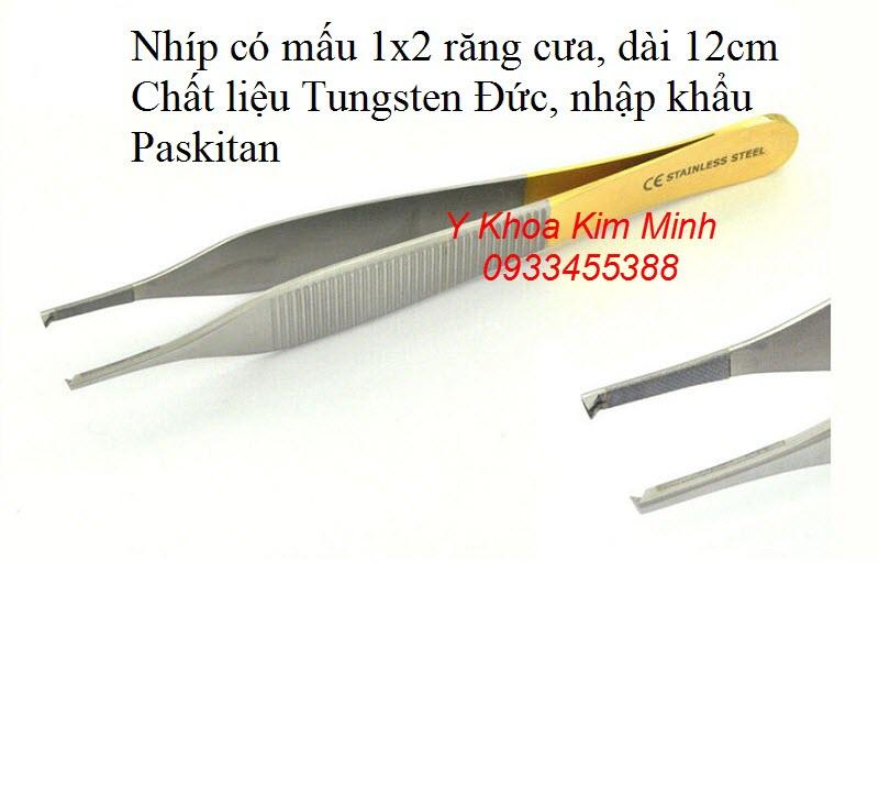 Nhíp mấu gấp mô trong phẫu thuật khâu vết thương nhập khẩu paskitan dài 12cm - Y khoa Kim Minh