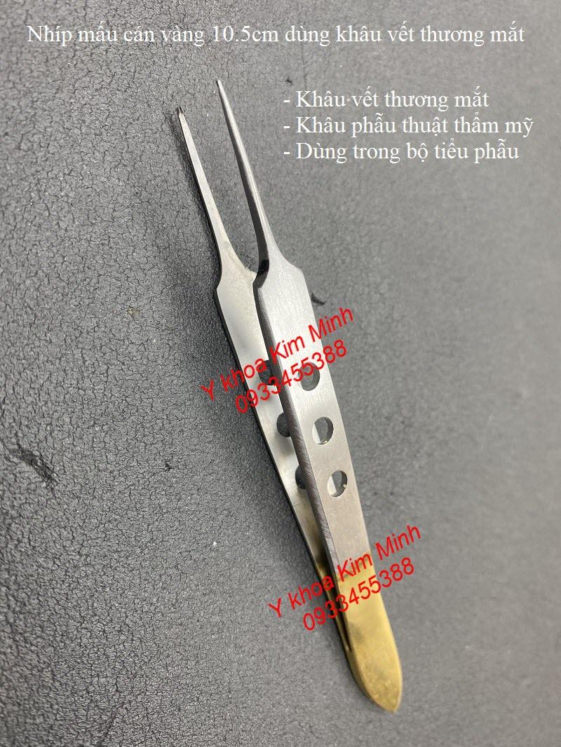 Nhíp kẹp có mấu 10.5cm dùng khâu vết thương vùng mắt, phẫu thuật thẩm mỹ - Y khoa Kim Minh