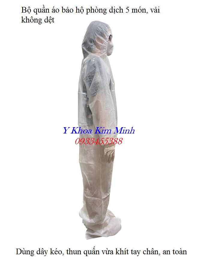 Bộ quần áo phòng dịch 5 món kiểu áo liền quần rất kín và an toàn giúp ngăn lây nhiễm chéo virus - Y khoa Kim Minh