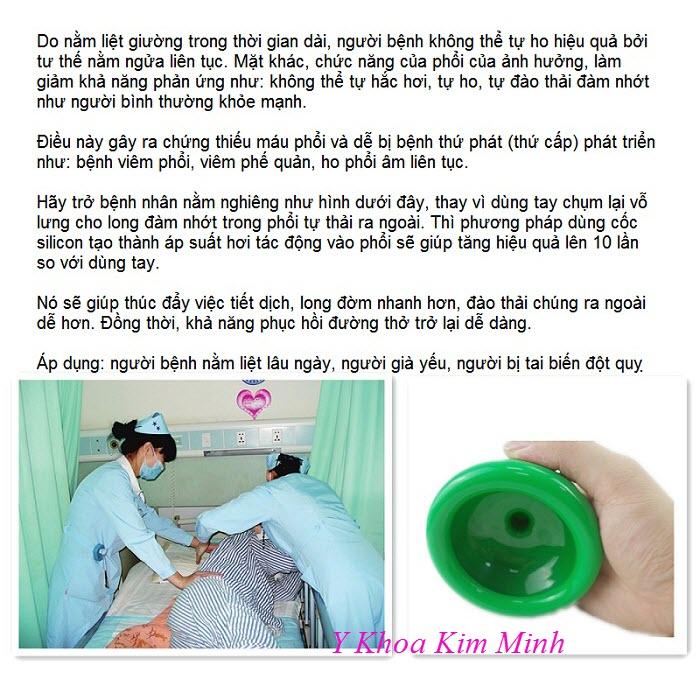 Chén silicon massage lưng ngực cho người bệnh tai biến, giúp long đờm nhớt thoát ra ngoài - Y khoa Kim Minh