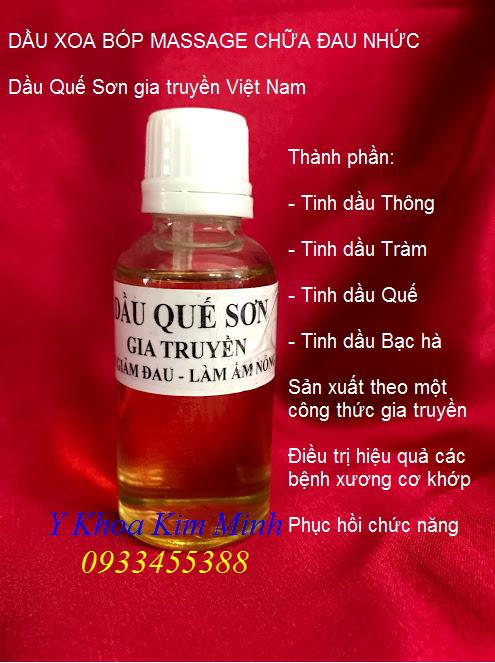 Nơi bán dầu quế sơn xoa bóp chữa đau nhức - Y Khoa Kim Minh 0933455388