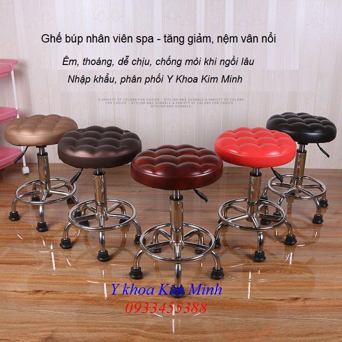 Đia chỉ bán ghế búp spa nhân viên ngồi có tăng giảm chiều cao nệm vân nổi - Y khoa Kim Minh