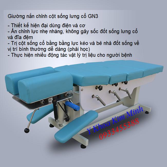 Thiết bị vật lý trị liệu, giường nắn cột sống lưng cổ GN3 - Y Khoa Kim Minh
