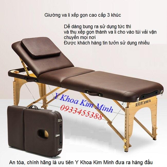 Giường va li gỗ nâng đầu 3 khúc KW-320 - Y khoa Kim Minh 0933455388