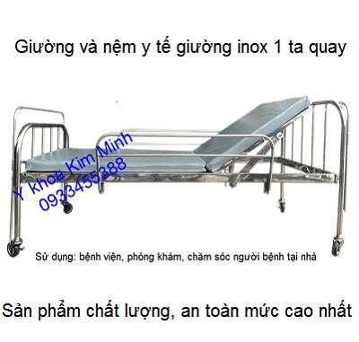 Nệm và giường y tế inox 1 tay quay dùng cho người bệnh - Y Khoa Kim Minh