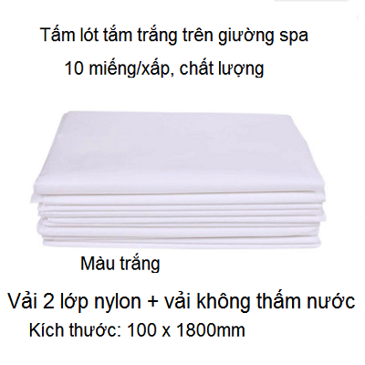 Miếng vải lót tắm trắng không thấm nước kích thước 100 x 1800mm - Y Khoa Kim Minh