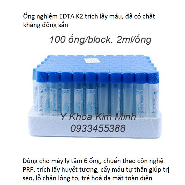 Nơi bán ống xét nghiệm EDTA 2ml có chất kháng đông dùng cho máy li tâm tách huyết tương cấy máu tự thân PRP điều trị sẹo trẻ hoá da - Y Khoa Kim Minh