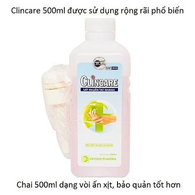 Nước sát khuẩn tay nhanh Clincare 500ml thường sử dụng trong bệnh viện, phòng khám y tế - Y Khoa Kim Minh