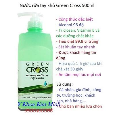 Nước rửa tay khô Green Cross có khả năng diệt vi khuẩn 99,99% - Y Khoa Kim Minh