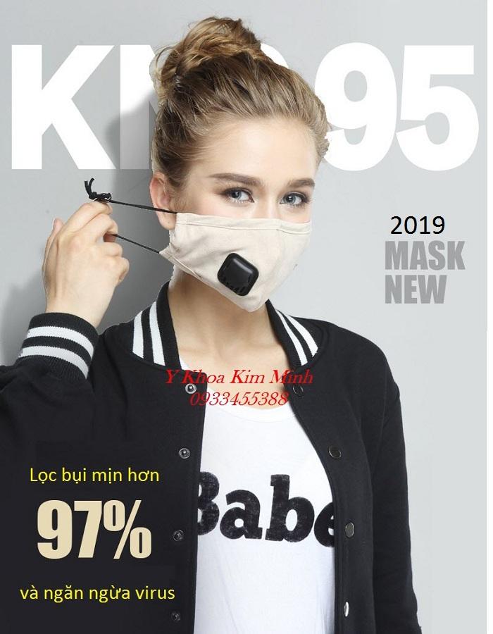 Khẩu trang vải 4 lớp có van lọc khí bụi mịn PM2.5 bán giá sỉ tại Y khoa Kim Minh