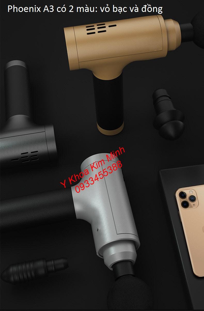 Máy massage gun Phoenix A3 vỏ máy có 2 màu là màu bac và màu đồng