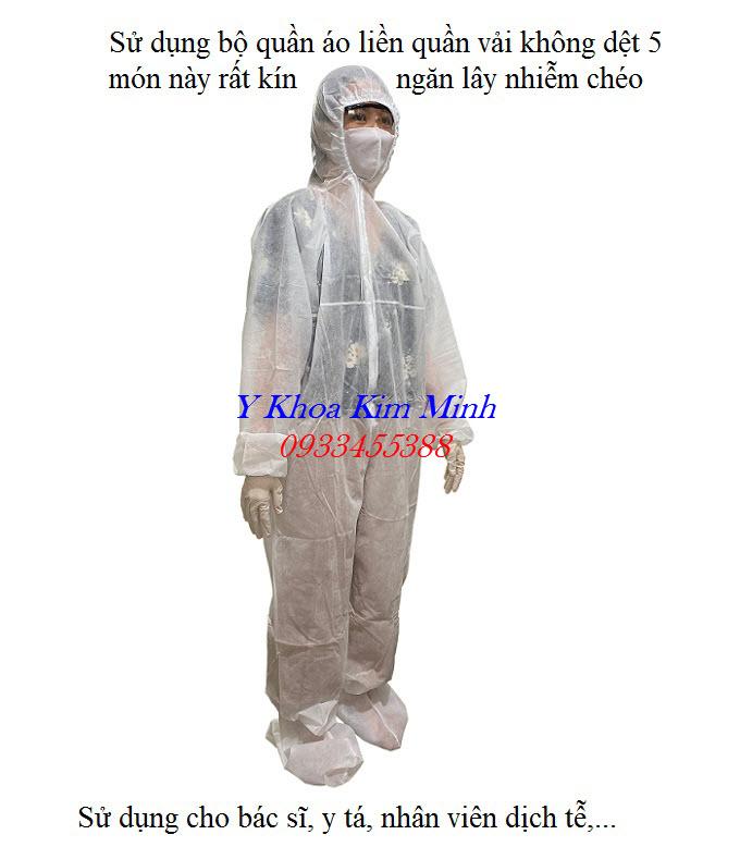 Bộ trang phục quần áo liền quần vải không dệt 5 món bán ở đâu tại Tp HCM - Y khoa Kim Minh