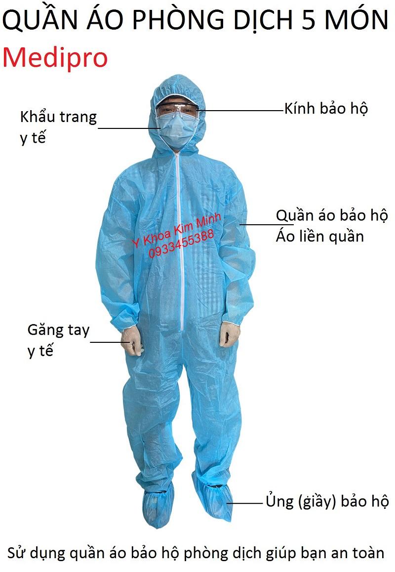 Quần áo phòng dịch y tế 5 món Medipro của hãng Thời Thanh Bình