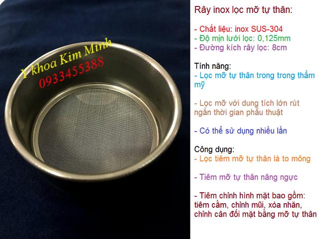 Ray inox chuyen dung de loc mo tu than nang mong nang nguc chinh hinh tham my bang mo tu than tiem filler - Y khoa Kim Minh 0933455388