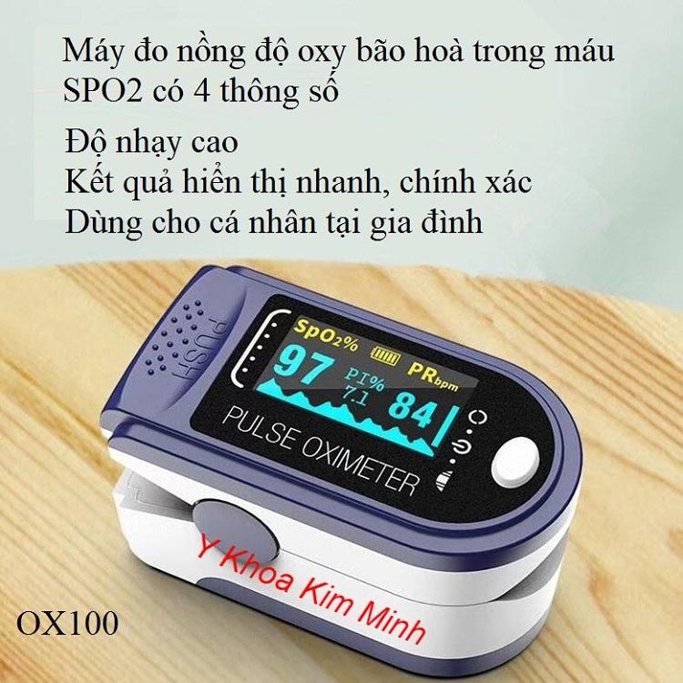 Máy đo oxy trong máu SPO2 OX100 có 4 thông số - Y khoa Kim Minh