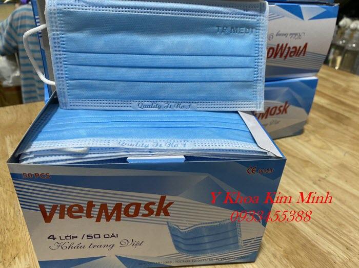 Khẩu trang y tế 4 lớp kháng khuẩn Viet Mask sản xuất tại Việt Nam, có đăng ký kiểm định chất lượng - Y Khoa Kim Minh