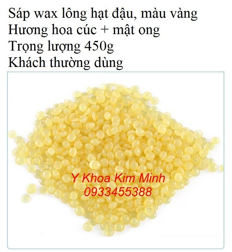 Sáp wax lông hạt đậu màu vàng, 450g/bịch, hương hoa cúc + mật ong, khách spa thường dùng - Y khoa Kim Minh