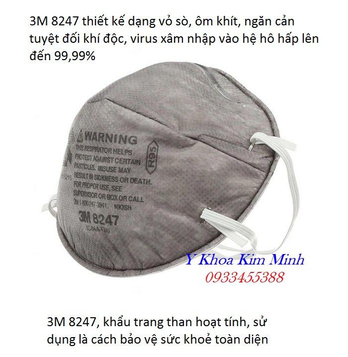 Khẩu trang than 3M 8247 được sử dụng cho nhân viên y tế, phòng chống cúm virus, khử động, trong ngành sản xuất hoá chất, dầu khí - Y Khoa Kim Minh