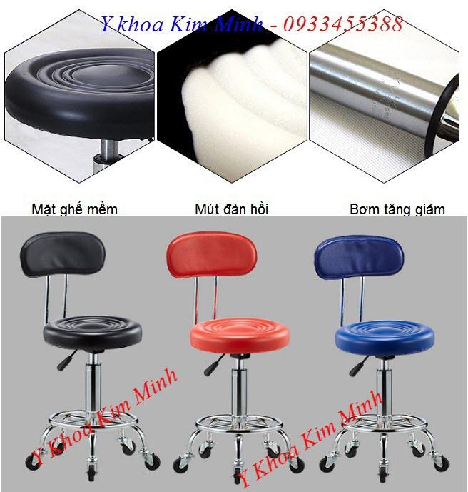 Bán ghế búp dùng cho thẩm mỹ viện spa GB-003 có tựa lưng và bánh xe di chuyển - Y khoa Kim Minh 0933455388