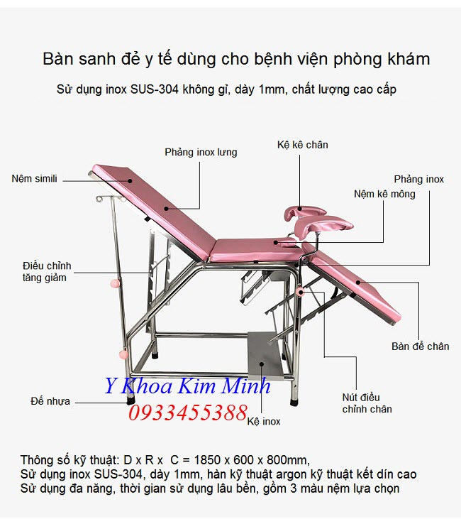 Thông số kỹ thuật giường sanh đẻ y tế inox 304 G034-01 - Y Khoa Kim Minh 0933455388