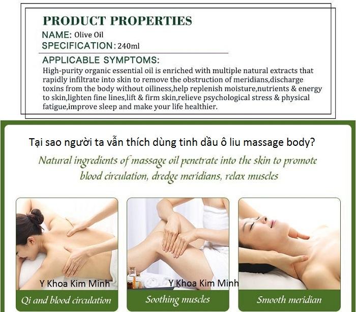 Tại sao người ta hay dùng tinh dầu ô liu massage body và có hiệu quả không? Y Khoa Kim Minh