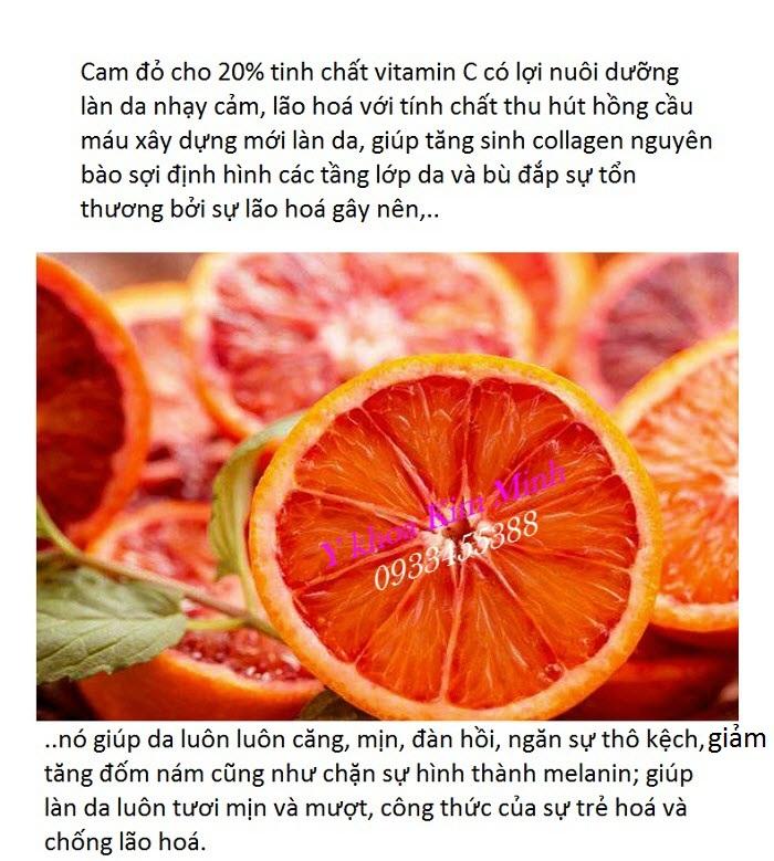 Thành phần dưỡng chất chăm sóc da vitamin C cam đỏ bán tại Y khoa Kim Minh
