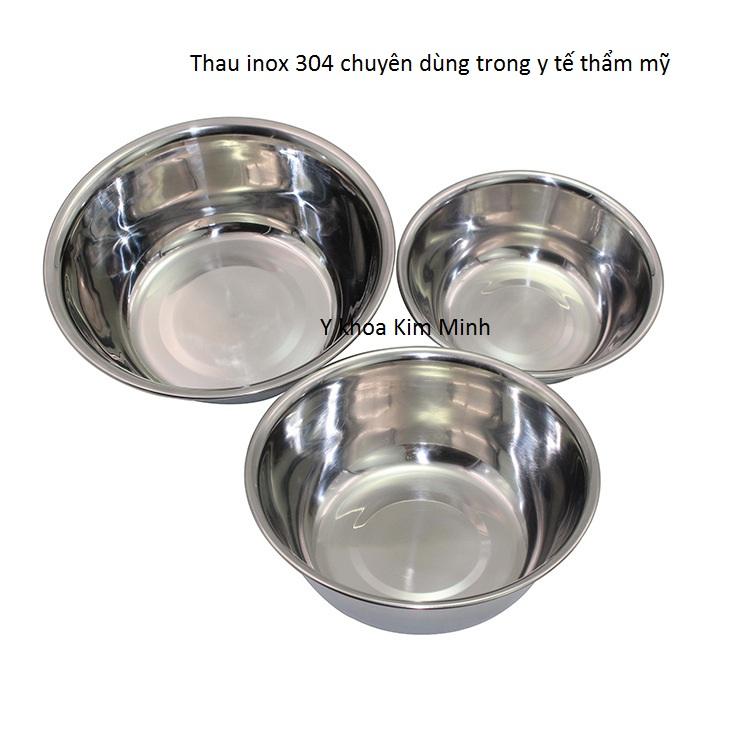 Loại thau inox 304 dùng cho y tế chống gỉ sét đường kính 12, 14, 16cm - Y khoa Kim Minh