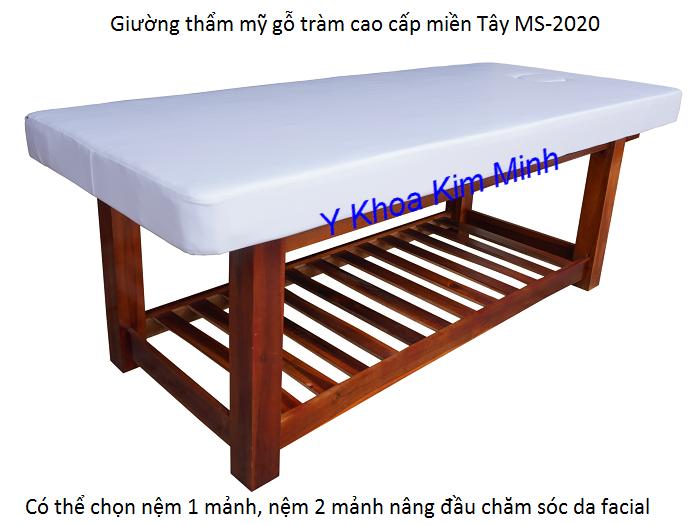 Giường thẩm mỹ spa 2 mảnh nâng đầu, giường massage body sản xuất tại Y Khoa Kim Minh