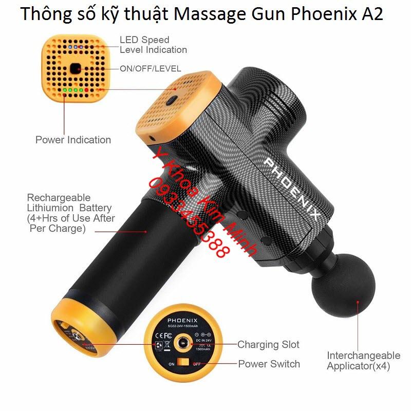 Thông số kỹ thuật của máy massage gun Phoenix A2 thân máy bằng Carbon - Y Khoa Kim Minh