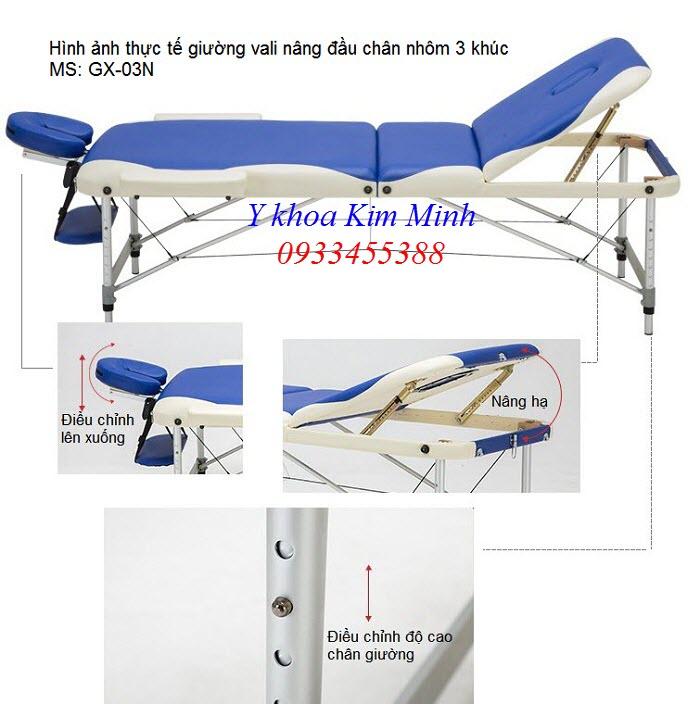 Thông số kỹ thuật giường masssage vali chân nhôm nâng đầu GX-03N - Y khoa Kim Minh
