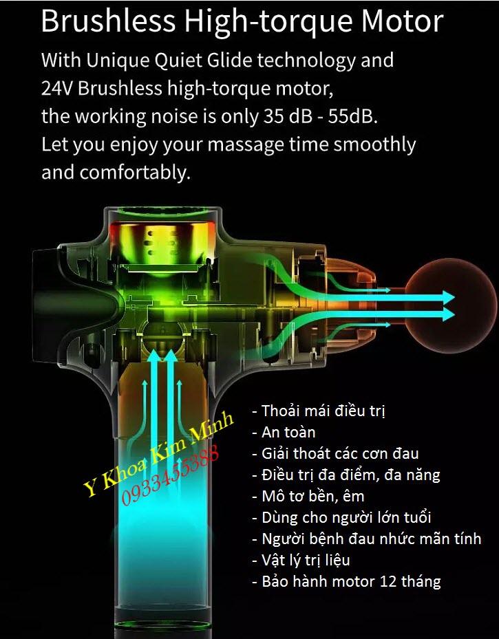 Thông số kỹ thuật máy massage gun Phoenix A2 4 đầu điều trị bán tại Y Khoa Kim Minh