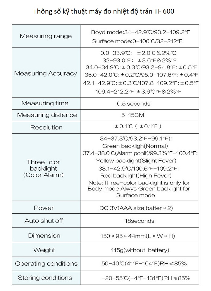 Máy đo nhiệt độ trán dùng cho trẻ em và người lớn TF 600 - Y khoa Kim Minh