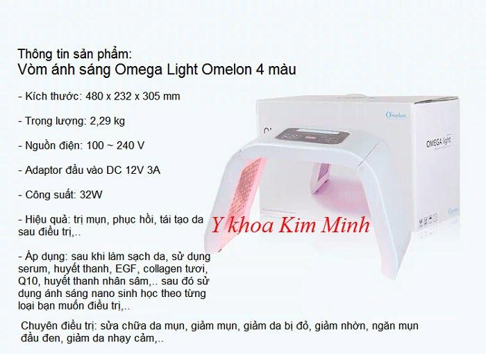 Thông số kỹ thuật đèn ánh sáng sinh học chăm sóc da mặt omega light omelon - Y khoa Kim Minh
