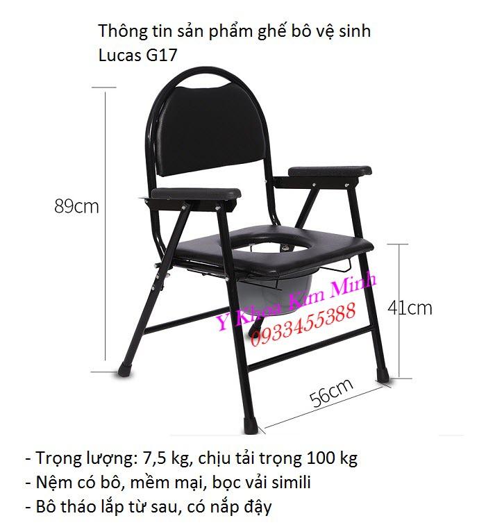 Thông số kỹ thuật ghế bô vệ sinh người bệnh người già Lucas G-17 - Y Khoa Kim Minh