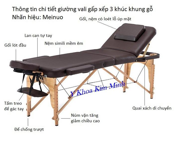Thông tin giường vali gấp 3 khúc chân gỗ Meinuo 700x1850x500~780mm - Y khoa Kim Minh