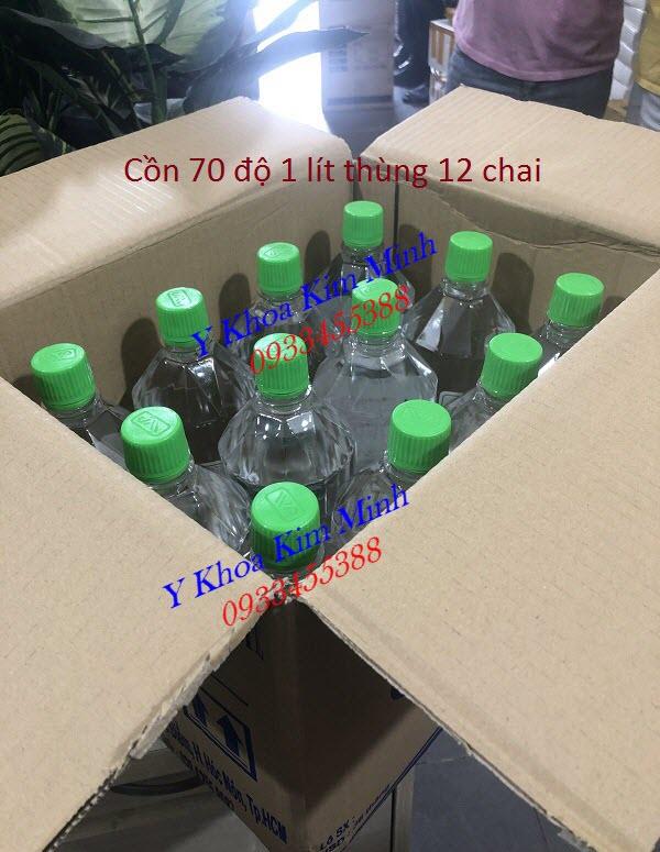 Thùng cồn y tế 70 độ VP có 12 chai loại 1 lít - Y khoa Kim Minh