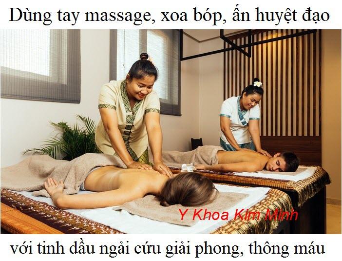 Dùng tinh dầu ngải cứu massage, day ấn huyệt đạo bằng tay giúp giải phong, giảm cảm mạo, lưu thông máu - Y Khoa Kim Minh