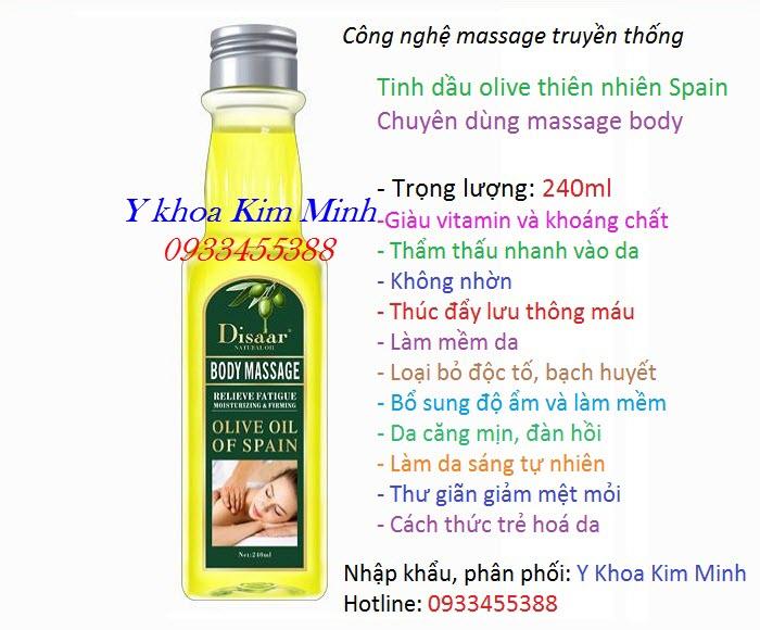 Tinh dầu massage body, tinh dầu masssage o liu của Tay Ban Nha - Y Khoa Kim Minh