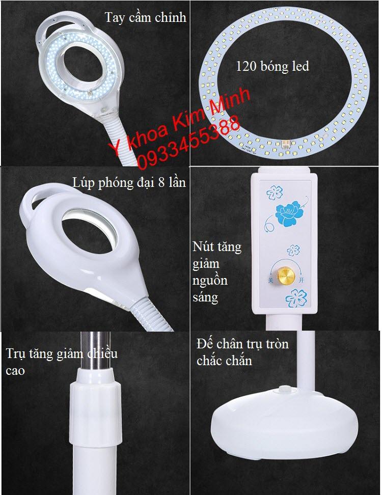 Tính năng kỹ thuật đèn lup led 120 bóng dùng soi da, kiểm tra da, chăm sóc da - Y khoa Kim Minh