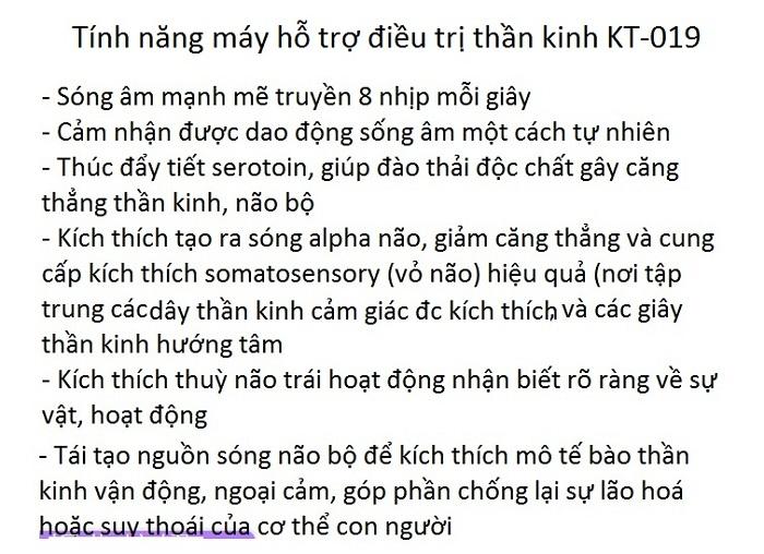 Tinh nang ho tro chua than kinh cua may KT-019 - Y khoa Kim Minh