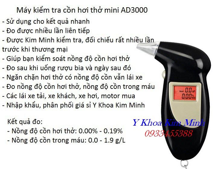 Tính năng hiệu quả sử dụng của máy đo nồng độ cồn hơi thở mini dùng cá nhân AD3000 - Y Khoa Kim Minh