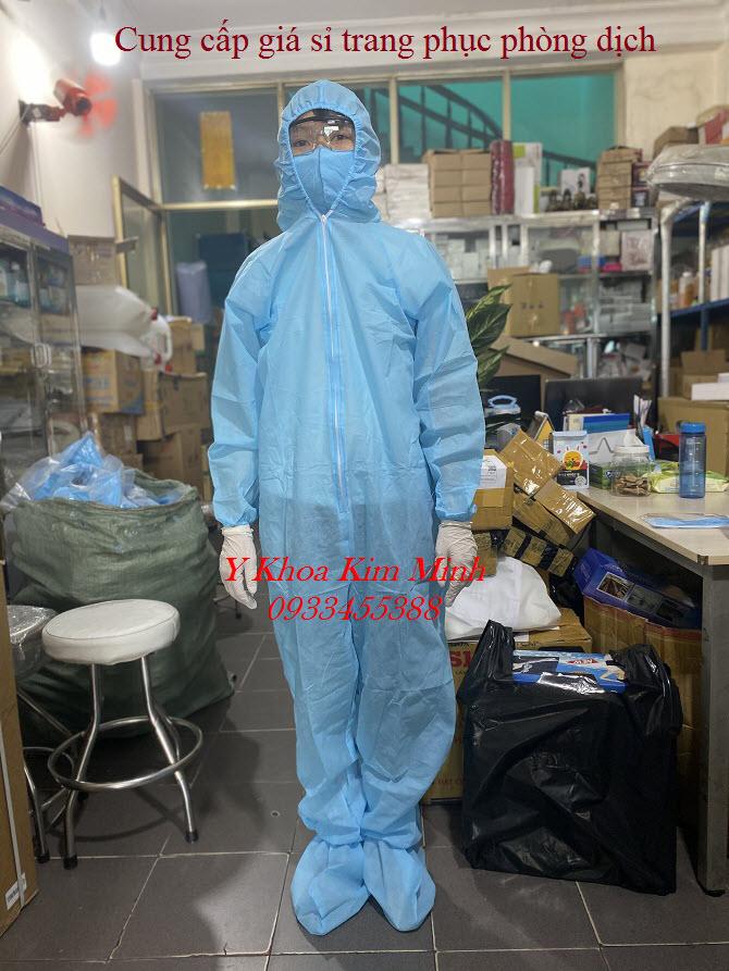 Bộ trang phục phòng dịch gồm quần áo, nón, giầy, khăng tay, khẩu trang, kính bảo hộ bán giá sỉ tại Tp.HCM - Y khoa Kim Minh