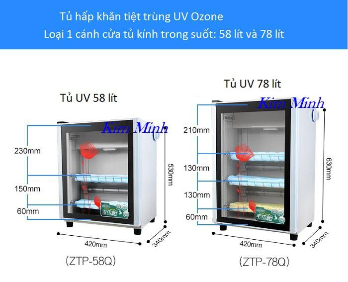 Tủ UV tiệt trùng 58 lít và 78 lít loại 1 cánh cửa tủ - Y Khoa Kim Minh