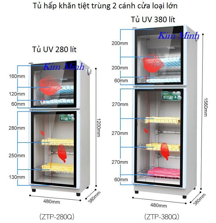 Tủ hấp khăn tiệt trùng UV Ozone 280 lít ZTP-280Q và 380 lít ZTP-380Q - Y khoa Kim Minh